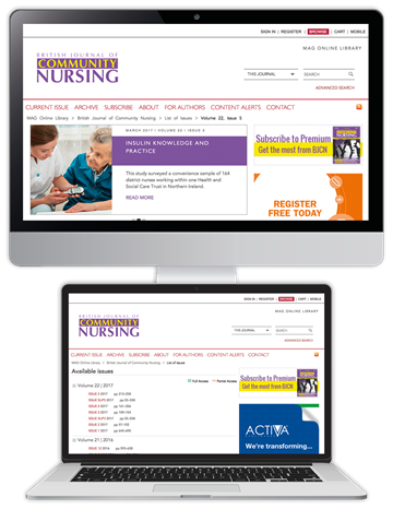 Picture of British Journal of Community Nursing Website & CPD