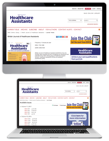 Picture of British Journal of Healthcare Assistants Website