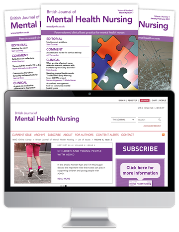Picture of British Journal of Mental Health Nursing Print, Website & CPD