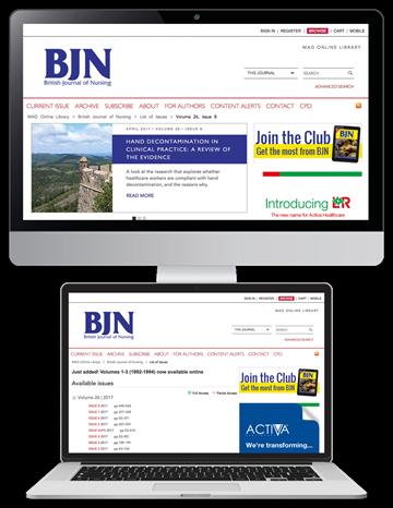 Picture of British Journal of Nursing Website & CPD