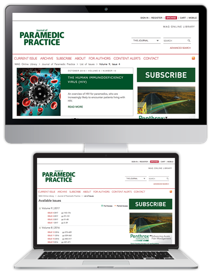 Picture of Journal of Paramedic Practice Website & CPD