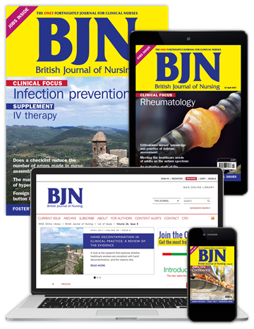 Picture of British Journal of Nursing Full Club & free Journal of Wound Care