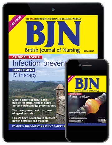 Picture of British Journal of Nursing Digital & free Journal of Kidney Care