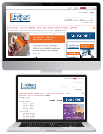 Picture of British Journal of Healthcare Management Website £3 for 3 months