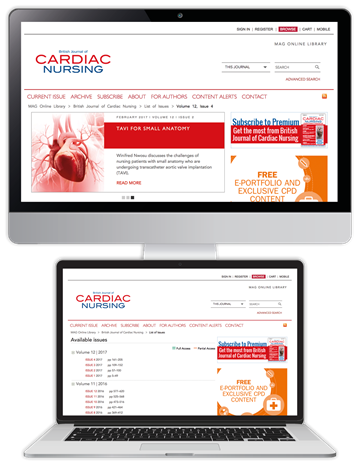 Picture of British Journal of Cardiac Nursing Website £3 for 3 months