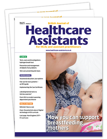 Picture of British Journal of Healthcare Assistants Print £3 for 3 issues
