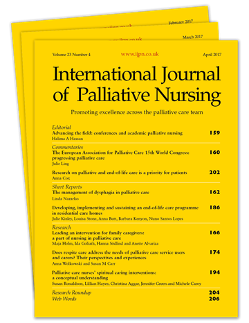 Picture of International Journal of Palliative Nursing Print £3 for 3 issues