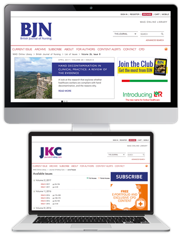 Picture of British Journal of Nursing Website & CPD & free Journal of Kidney Care