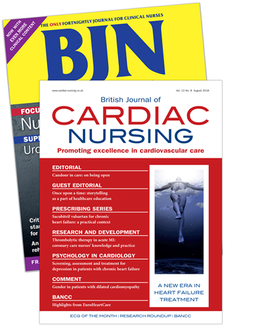 Picture of British Journal of Nursing Print & CPD & free British Jnl of Cardiac Nursing