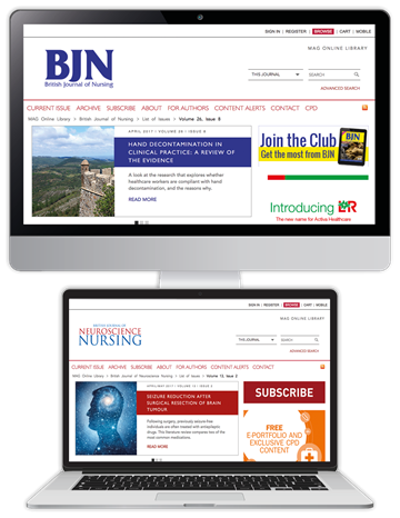 Picture of British Jnl of Nursing Website & CPD & free British Jnl of Neuroscience Nursing