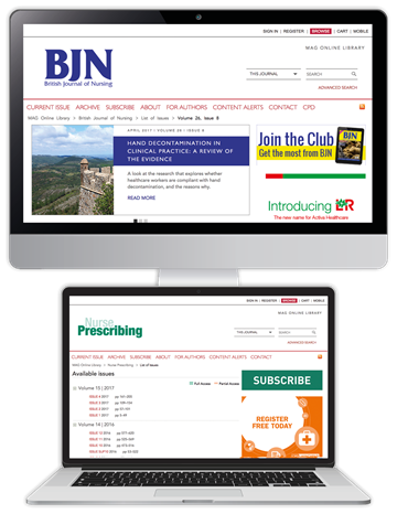 Picture of British Journal of Nursing Website & CPD & free Nurse Prescribing