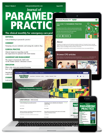 Picture of Journal of Paramedic Practice Premium - Print, Website & CPD