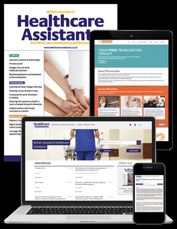 Picture of British Journal of Healthcare Assistants Premium - Print, Website & CPD